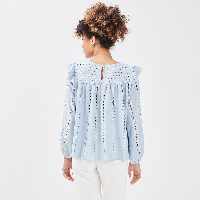 T-shirt manches longues bleu pastel femme