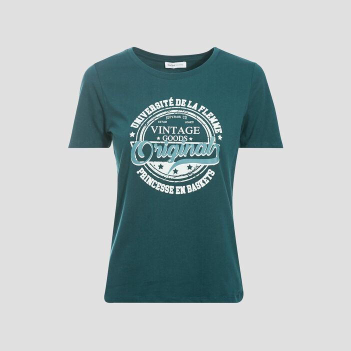 T-shirt manches courtes vert foncé femme
