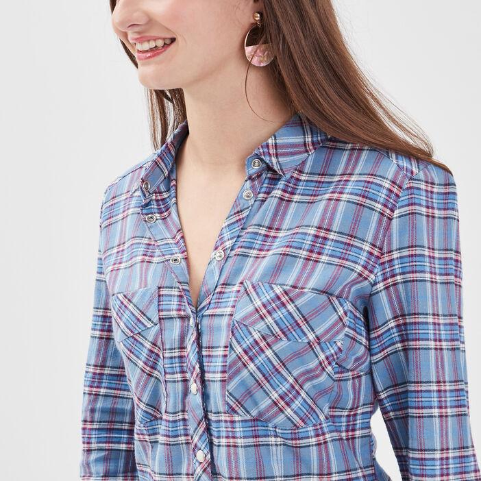 Chemise manches longues bleu femme