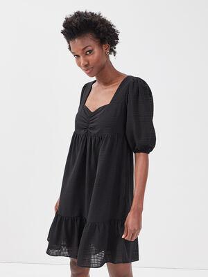 Robe evasee manches courtes noir femme