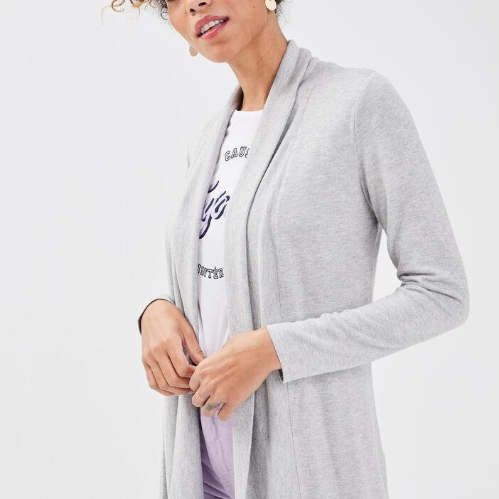 Gilet col châle maille chinée gris clair femme