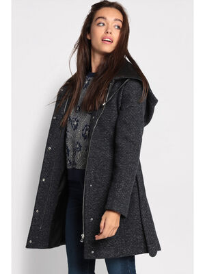Manteau cintre a capuche bleu femme