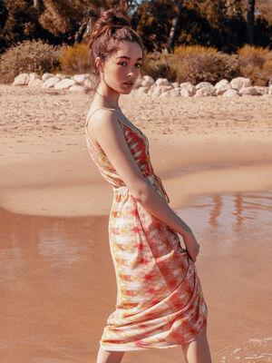 Robe longue evasee a bretelles rose fluo femme