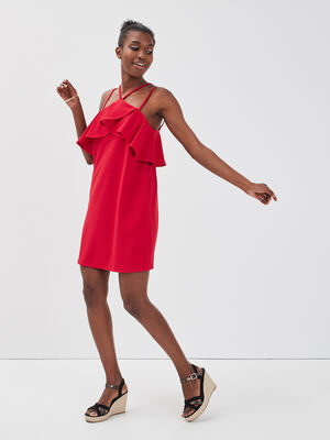 Robe droite volants rouge femme
