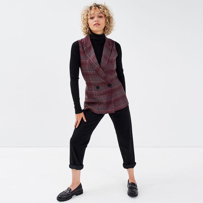 Jeans regular boutonné 7/8ème denim noir femme