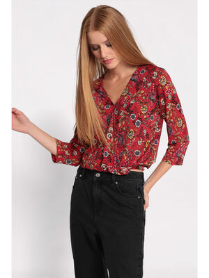 T shirt manches 34 rouge femme