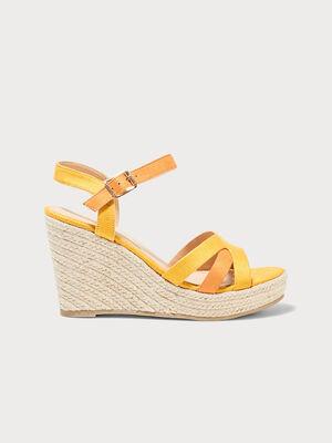 Sandales a talons compenses jaune femme