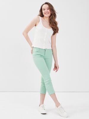 Pantacourt slim basique uni vert clair femme