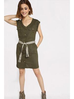 Robe chemise ceinturee vert kaki femme