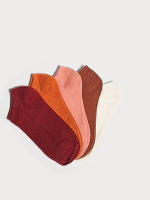 Lot de 5 paires chaussettes unies marron femme