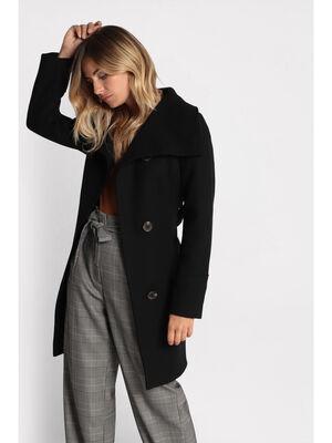 Manteau cintre a ceinture noir femme