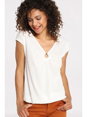 T shirt manches courtes anneau ecru femme