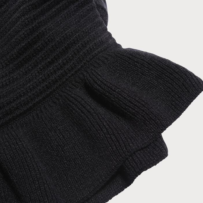 Écharpe tricotée à volants noir femme