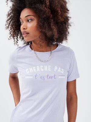 T shirt manches courtes mauve femme