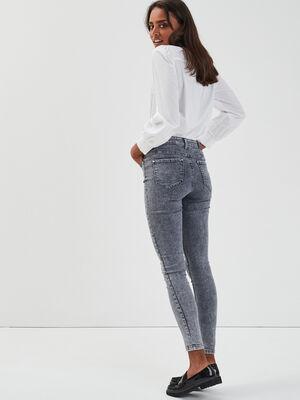 Jeans skinny 5 poches denim snow gris femme