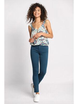 Pantalon skinny push up bleu petrole femme
