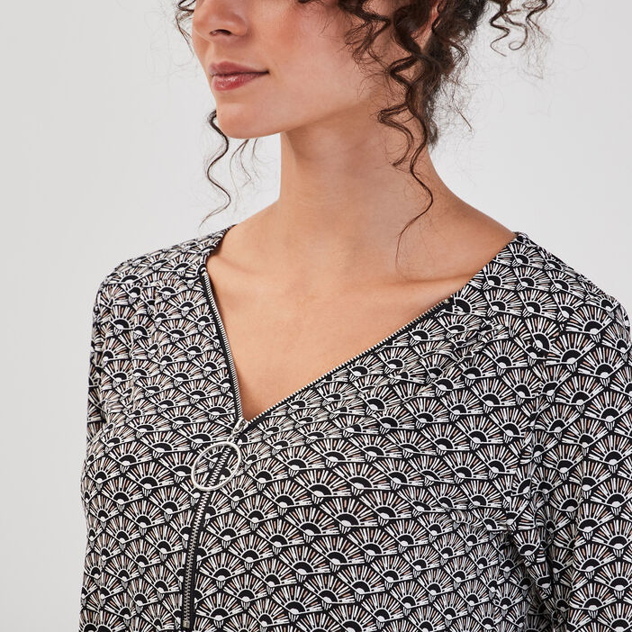 T-shirt imprimé manches 3/4 noir femme