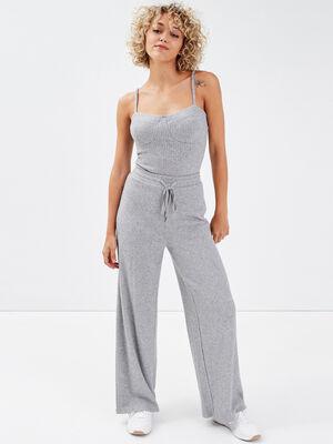 Pantalon large cotele gris clair femme