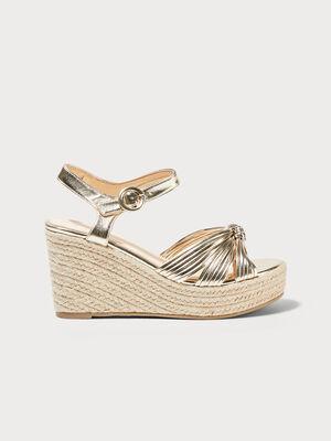 Sandales a talons compenses couleur or femme