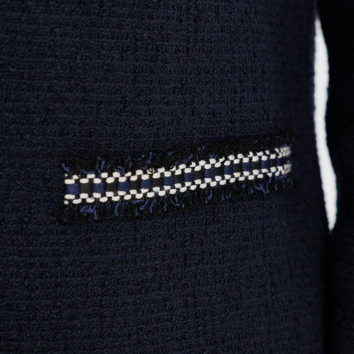 Veste droite bandes fantaisie bleu marine femme