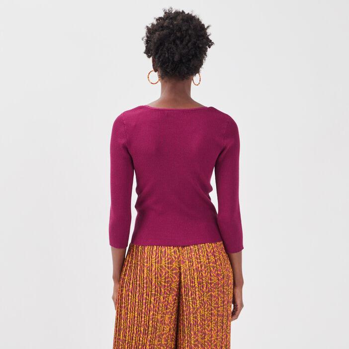 Gilet boutonné et côtelé violet foncé femme