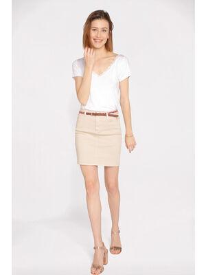 Jupe droite taille standard beige femme