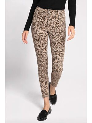 Pantalon slim 5 poches beige femme