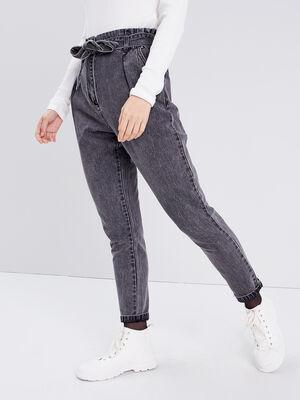 Jeans regular ceinture denim snow gris femme