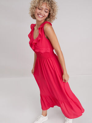 Robe longue evasee volantee rose vif femme
