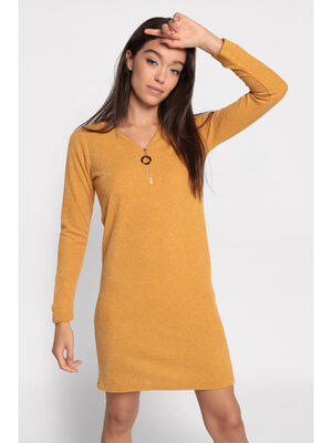 Robe pull droite col zippe jaune moutarde femme