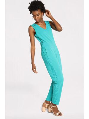 Combinaison pantalon dentelle bleu turquoise femme