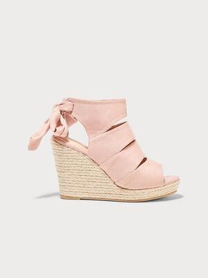 Sandales a talons compenses vieux rose femme