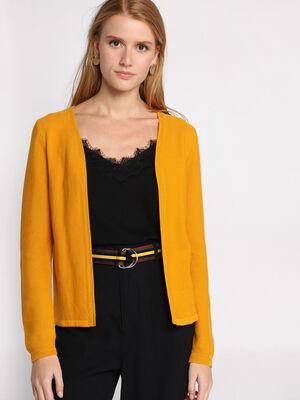 Gilet manches longues ouvert jaune moutarde femme