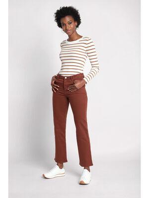 Jeans droit a poches marron cognac femme