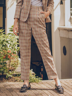 Pantalon carotte ceinture beige femme
