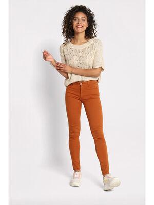 Pantalon slim 5 poches marron femme