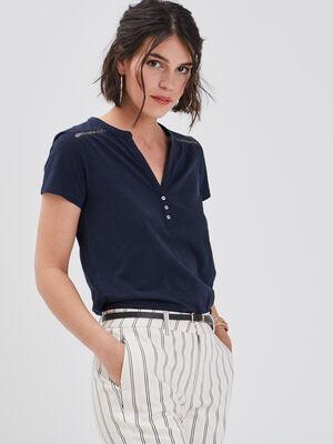T shirt manches courtes ajoure bleu marine femme