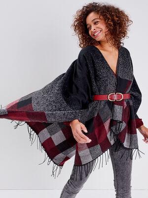 Poncho avec franges noir femme