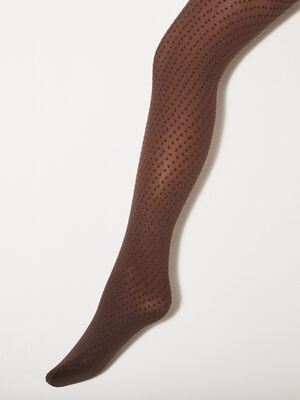 Collants fantaisie marron fonce femme