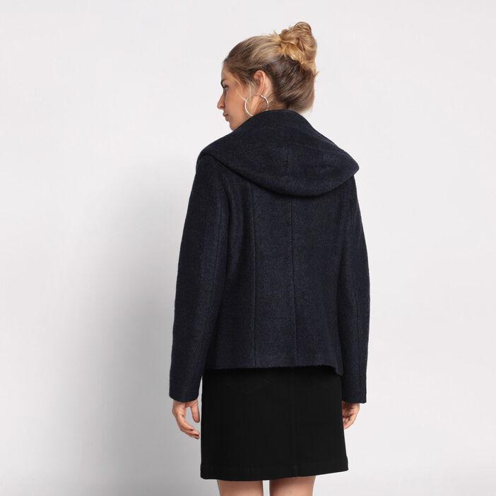 Manteau cintré à capuche bleu femme