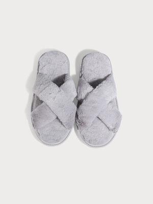 Chaussons bandes croisees gris fonce femme