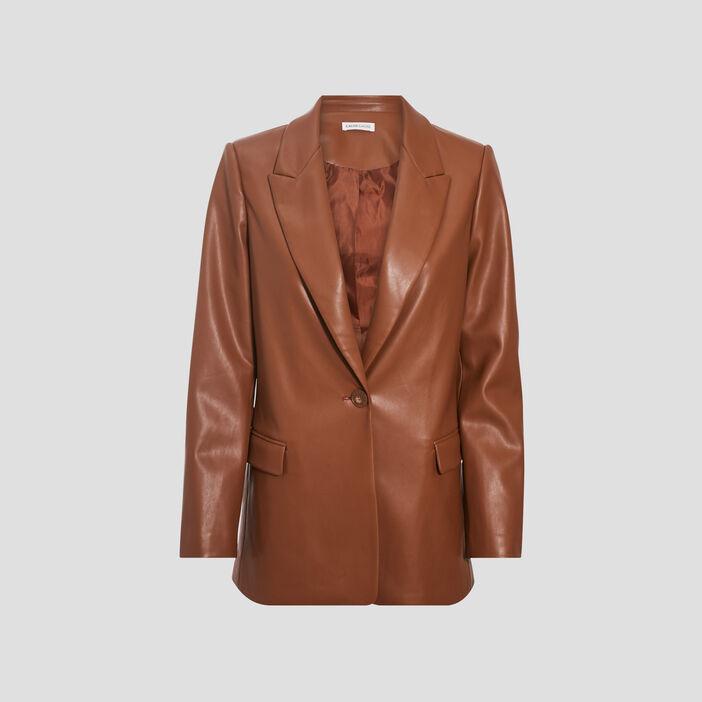 Veste esprit blazer droite marron cognac femme