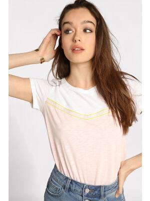 T shirt manches courtes noue blanc femme