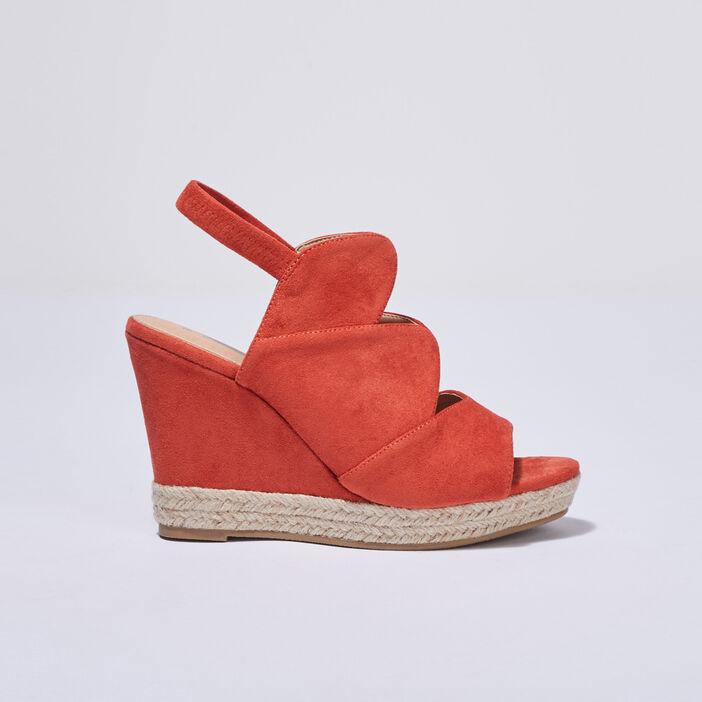 Sandales à talons compensés orange femme