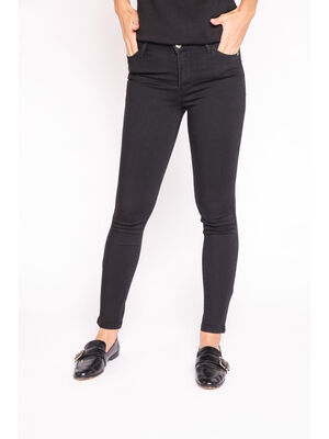 Jeans slim taille haute delave denim noir femme