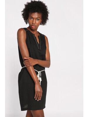 Robe courte droite ceinture noir femme
