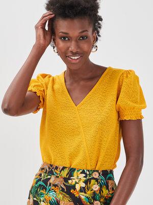 T shirt manches courtes smocke jaune femme