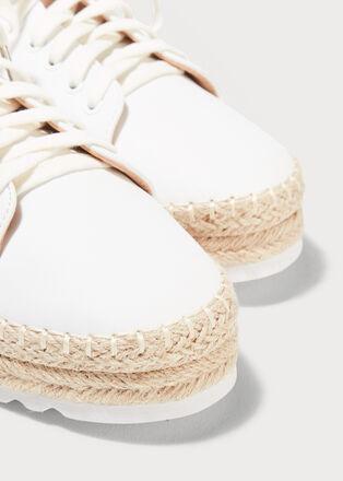 Baskets plates detail corde ecru femme