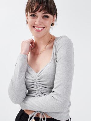 T shirt manches longues gris clair femme