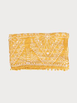 Foulard liseres de pompons jaune or femme